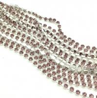 Стразовая цепь, арт.01, размер 2мм; Light Amethyst; серебро - 50 см