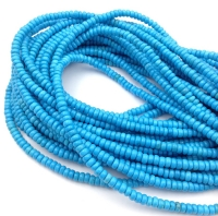 Природная имитация Бирюзы Голубой, рондель 4*2мм; нить 38см