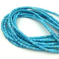 Природная имитация Бирюзы Голубой, колонна 4*3мм; нить 38см