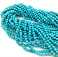 Природная имитация Бирюзы Голубой, шар гранёный 4мм; нить 38см