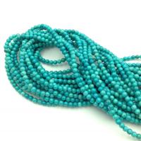 Природная имитация Бирюзы,  бирюзово-Зелёная, шар 2,5мм; нить 38см
