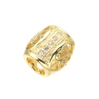 Бусина овальная с узором, цвет золото