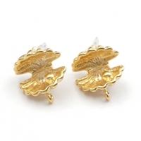Пуссеты Ракушка с жемчугом 12мм, цвет матовое золото
