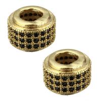Бусина- Рондель с чёрными фианитами, цвет золото