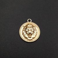 Медальон Лев Круг 20мм, Южная Корея; цвет золото
