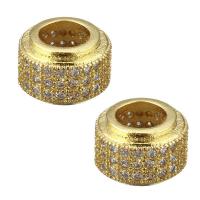 Бусина- Рондель с Прозрачными фианитами, цвет золото