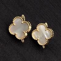 Швензы Клевер с натуральным Белым Перламутром, цвет золото