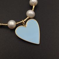 Подвеска Сердце крупное с голубой эмалью, 29мм