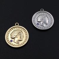 Подвеска мятый медальон с 1 фианитом, Южная Корея