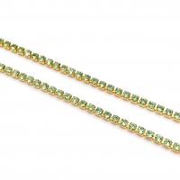 1,5мм Стразовая Цепь Южная Корея, цвет Peridot ;золото