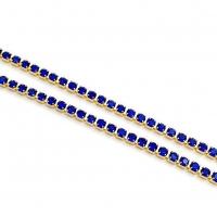 1,5мм Стразовая Цепь Южная Корея, цвет Sapphire  ,золото