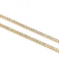1,5мм Стразовая Цепь Южная Корея, цвет Crystal;золото
