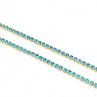 1,5мм Стразовая Цепь Южная Корея, цвет Aquamarine ; золото