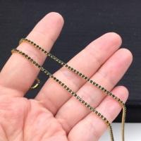 1,5мм Стразовая Цепь Южная Корея, цвет Emerald ;золото