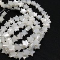 10 Бусин натуральный белый Перламутр, Звезда; 10 бусин