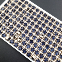 10 штук!  Фианит 6мм Denim Blue, обрамлён в оправу Lux