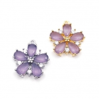 Цветок юв. стекло и Фианиты, цвет Сирень; Южная Корея