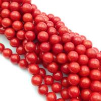 Коралл Красный,  шар 6мм,  нить=32 бусины