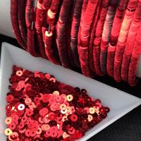 ОПТ Пайетки Италия; плоские 4мм; Красный metallizzati (4061); 50 грамм