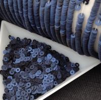Пайетки Италия; плоские 4мм; Сатин Тёмно-Синий (686w); 3 грамма