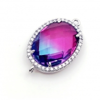 Коннектор многоцветное ювелирное стекло; цвет платина