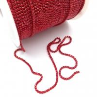 Стразовая цепь 2мм RED №106, оправа в цвет, 1 метр