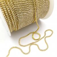 Стразовая цепь 2мм Crystal №102, в золотистой оправе, 1 метр