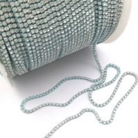 Стразовая цепь 2мм  Crystal №120, цветная оправа, 1 метр