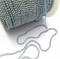 Стразовая цепь 2мм Crystal №122, в Лазурной оправе, 1 метр