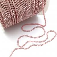 Стразовая цепь 2мм Crystal № 107, в цветной оправе, 1 метр