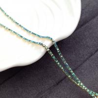 1,5мм Стразовая Цепь Южная Корея, цвет AB Emerald AB; золото