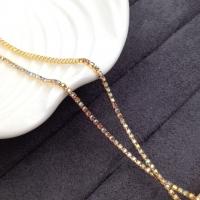 1,5мм Стразовая Цепь Южная Корея, цвет AB Light Topaz AB; золото