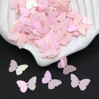 Пайетки Италия Бабочка, Розовый- радужный эффект (562); 24 штуки