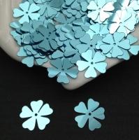 Пайетки Италия Клевер-Цветок, Лазурный Metallizzati (6111); 15 штук