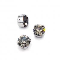Фианит 8мм Black Diamond, обрамлён в оправу Lux