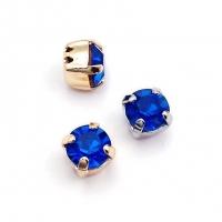 10 штук! Фианит 6мм Capri Blue, обрамлён в оправу Lux