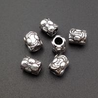 Серебро, Бусина Бочонок с цветами; 9.2мм