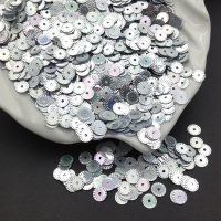 Пайетки Италия Рифлёные Серебро металл AB Irise (1115); 3 грамма