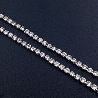 Стразовая цепь, размер 2мм; Crystal; платина - 50 см