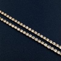 Стразовая цепь, размер 2мм; Crystal; золото - 50 см