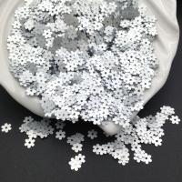 Пайетки Италия Цветок-5мм Серебро сатин (916w); 3 грамма