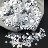 Пайетки Италия; плоские 4мм; Серебро радужный metall (1115)