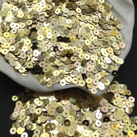 Пайетки Италия; плоские 4мм; Золото радужное metall (2015); 3 грамма