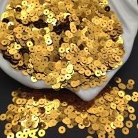 Пайетки Италия; плоские 4мм; тёмное Золото metallizzati (8031); 3 грамма