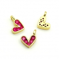 Подвеска Сердце mini с малиновыми фианитами, 9,5*6,5мм, цвет золото