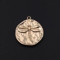 Медальон мятый Стрекоза; цвет золото