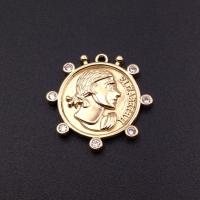 Медальон Elizabeth II с фианитами, 25мм; цвет золото