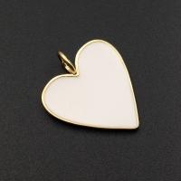 Подвеска Сердце крупное с Белой эмалью, 29мм; цвет золото