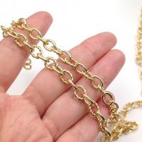 Цепь из Латуни -  гладкий и витой овал 9*7мм; Южная Корея; цвет золото