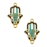 Коннектор Хамса с матовыми кристаллами, цвет золото